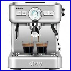15 Bar Semi-Auto Espresso Coffee Maker Machine with Milk Frother Steam Wand