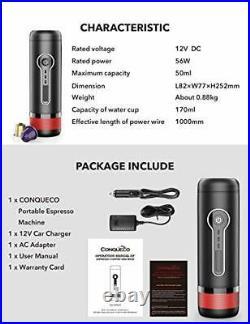 CONQUECO Portable Coffee Maker, 12V Electric Heating Espresso Machine, 15 Bar