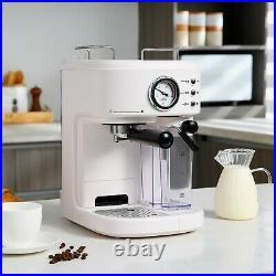 Coffee Machine Milk Frother Steamer 15 Bar Retro Espresso Cappuccino Latte Maker