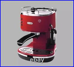 DELONGHI 15-Bar Espresso Machine Cappuccino Coffee Maker Stainless Steel Red