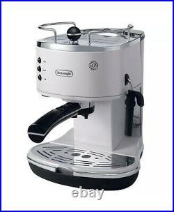 DELONGHI 15-Bar Espresso Machine Cappuccino Coffee Maker Stainless Steel White
