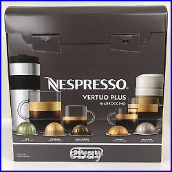 DeLonghi Nespresso Vertuo Plus Coffee & Espresso Maker Aeroccino Frother Gray