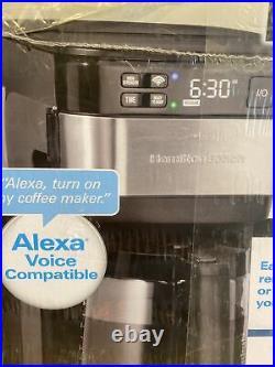 Hamilton Beach with Alexa Smart Coffee Maker 12 Cup Black Stainless Steel NIB