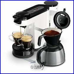 Philips 2 in 1 Filter Pod Coffee Machine Espresso Maker Thermos Jug White Senseo
