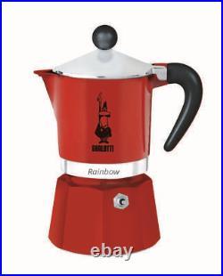 The original Bialetti, Rainbow Model, 3/6 Cups, Moka Coffee Maker, Stovetop. Davmi